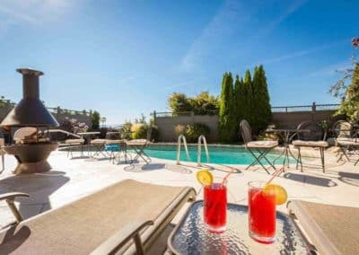 Cold Beverages are Refreshing While Lounging at the Salt Water Pool at A Vista Villa, Kelowna, BC