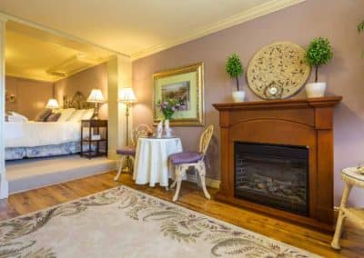The Imperial Honeymoon Suite Has Two Fireplaces at A Vista Villa Couples Retreat in Kelowna, BC