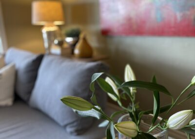 Fresh flowers are a delight to the senses for couples enjoying a getaway at our Kelowna retreat